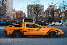 To promote fashion brand Nooka, designer Mike Lubrano envisions a New York taxi based on the iconic DeLorean DMC-12 time machine.