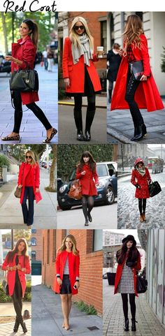 Inspire-se: casaco vermelho / red coat- Ways to wear my January sales Coat Mode Outfits, Casual Outfits, Fashion Outfits, Womens Fashion, Fashion Trends, Fall Winter Outfits, Autumn Winter Fashion, Red Coat Outfit, Coat Dress