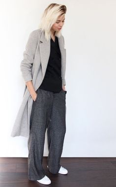White sneakers with classic slouchy grey man-style pants. Great layers. Sneakers for all occasions. | Winter | Work | Comfy | Wool | Casual | Outfit | Look | Style | Fashion | Monochrome | Leggings | Sneakers | Runners | Addidas |