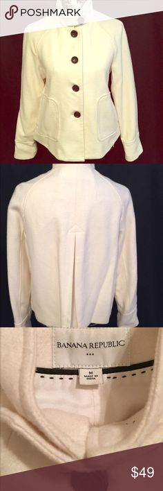 Banana Republic Ivory Wool Pea Coat Medium From the holiday collection of Banana Republic comes this gorgeous Ivory peacoat.  Button front.  Front pockets.  Made of 50 wool, 50% viscose. Banana Republic Jackets & Coats Pea Coats