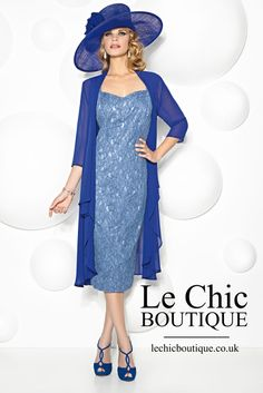 Cabotine's Style No. 5006740 is a gorgeous 2-piece outfit comprised of a lace dress and chiffon floaty coat. The fully lace dress has a cap sleeve and sweetheart neckline which lays mid calf. The solid cobalt chiffon coat has a waterfall front. This outfit is available in both cobalt blue and silver grey. - mother-bride.com