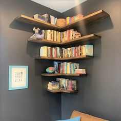 Floating shelves add a rustic but contemporary look to your home or work space. The solid wood shelves provide sturdy storage for books, dishes, or bathroom décor in a cozy, farmhouse style. Creative Bookshelves, Floating Bookshelves, Bookshelf Design, Floating Shelves Diy, Wall Shelves Design, Hanging Bookshelves, Custom Bookshelves, Custom Shelving, Solid Wood Shelves