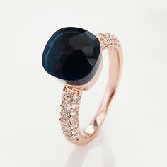 RING IN ROSE GOLD  WITH  BLUE QUARTZ  AND DIAMONDS