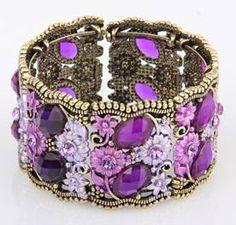 Purple Tibet Silver Swarovski Crystal Bracelet