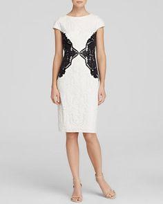 Tadashi Shoji Dress - Cap Sleeve Lace Color Block Sheath   Bloomingdale's