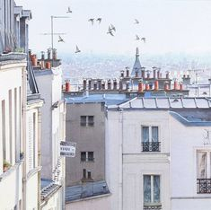 """'VENDU' Vue imprenable sur les toits de Paris"" By Thierry Duval, French Watercolor Artist original watercolor; 14 x 14 in Private Collection. Illustration Parisienne, Paris Illustration, Illustrations, Metro Paris, Paris Rooftops, Watercolor Architecture, Paris France, Watercolor Artwork, Watercolour"