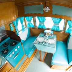 Pretty aqua travel trailer