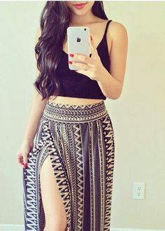 Black and white Aztec skirt with high slit