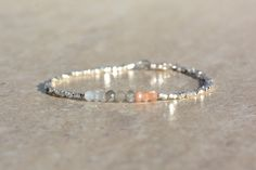 Moonstone Bracelet, Hill Tribe Silver Bracelet, Beaded Gemstone Bracelet, Natural Stones, Thin Bracelet, Woman's Gift, June Birthstone