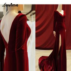 Long Sleeve Evening Gowns, Long Sleeve Gown, Red Evening Dresses, Long Gown With Sleeves, Elegant Evening Gowns, Long Sleeve Velvet Gown, Long Gown Elegant, Mermaid Evening Dresses, Elegant Dresses