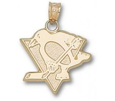 "Pittsburgh Penguins 5/8"" Skating Penguin Pendant - Gold Plated Jewelry - OnlineSports.com"