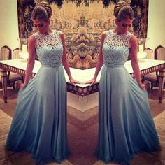 2017 Charming Light Blue Prom Dress,Chiffon Evening Dress,Sleeveless Party Dress,Beading Party Dress sold by Originality Dress. Modest Prom Gowns, Sequin Prom Dresses, Elegant Prom Dresses, Beaded Prom Dress, A Line Prom Dresses, Sexy Dresses, Cute Dresses, Dress Prom, Party Dress