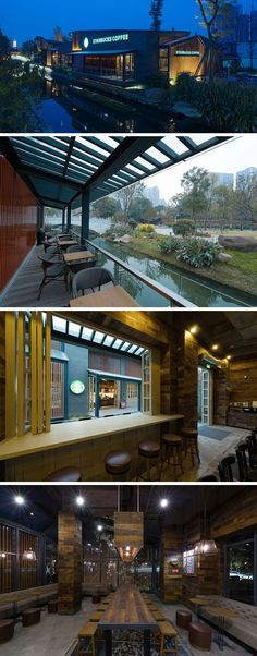 11 Starbucks Coffee Shops From Around The World // Made up of two freestanding buildings along the Jinjiang River in Chengdu, China, this Starbucks location uses large sliding doors and windows to create a feeling of connection between the two spaces and nature.