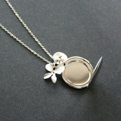 Silver Locket Necklace Orchid Custom Initial by smilesophie