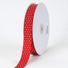 Grosgrain Ribbon Swiss Dot Red with White Dots - 7/8 inch x 50