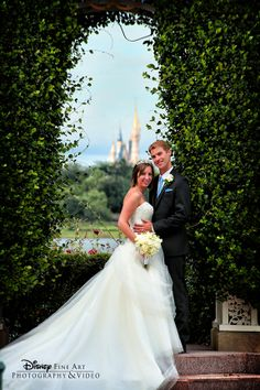 The perfect backdrop for a Disney wedding photo - Cinderella Castle #Disney #wedding #photography #castle