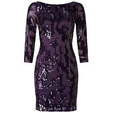 Buy Adrianna Papell Beaded Cocktail Dress, Prune Online at johnlewis.com