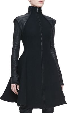 Flared Leathersleeve Coat - Gareth Pugh