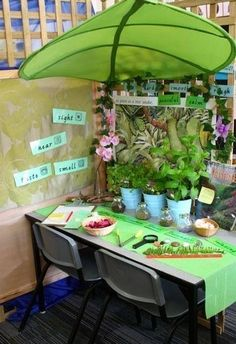 Inside/outside investigation table -- this would be a great science activity to set up for each season!