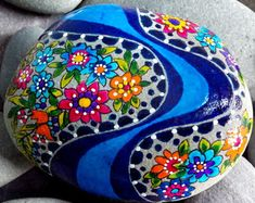 Wildflowers by the river / hand painted rocks/painted stones/art on stone /Sandi Pike Foundas/love from cape cod - Edit Listing - Etsy