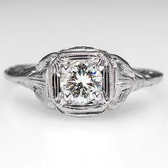 "Vintage ""Love Bird"" Engagement Ring 18K White Gold"