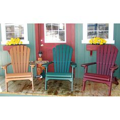 This folding Adirondack chair features a contoured back for comfort and support. The chair comes in a variety of colors and is designed with a polyresin and stainless-steel construction that will prevent splitting or cracking.