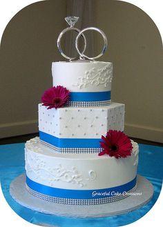 Elegant White, Silver and Malibu Blue Wedding Cake by Graceful Cake Creations, via Flickr