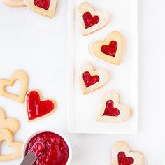 """""""Happy Valentine's Day, Mini friends! Make these today with the kids— simply cut out the dough, bake and fill the cookies with jam! : @cookingclassy"""""""