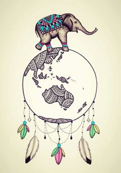 Vintage World Globe Elephant Dream Catcher  #dreamcatcher #worldglobe #feathers #art #drawing #prints #etsyshop #elephant #vintage #boho