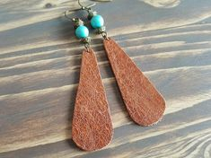 Teardrop Leather Earrings. Turquoise Earrings. Bohemian Dangle