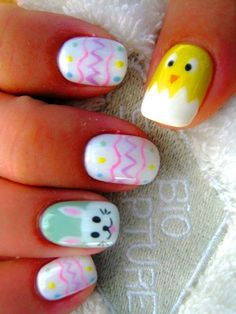 Hand Painted Easter Chick Nails
