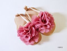 Leather baby sandals with mauve chiffon flower- other colors available via Etsy