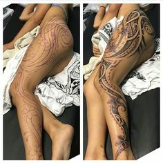Polynesian leg tattoo