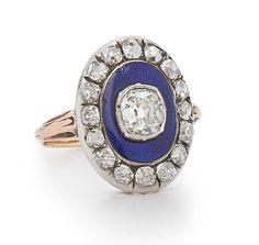 Fred Leighton Victorian blue enamel and diamond ring.
