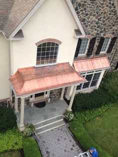 Concave standing seam Copper metal roof with flat seam soldered top. Copper Awning, Copper Roof, Metal Roof, Copper Metal, Flat Roof Repair, Porch Addition, Fibreglass Roof, Porch Roof, Front Porches