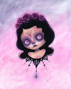 Original painting , comes with frame. on canvas Signed by Date w/ Blythe featured artist: Irene Garcia Doll Painting, All Things Cute, Canvas Signs, Monster Art, Pop Surrealism, Pretty Dolls, Indie Brands, Big Eyes, Halloween