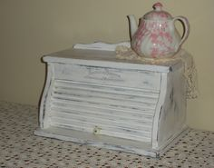 Vintage Wooden Bread Box White Shabby Chic Distressed by CraftyMJC, $85.00