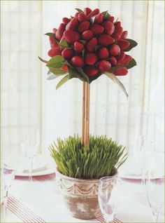 Edible Centerpiece with Strawberries- so clever!