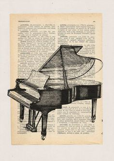 Gift Vintage Piano Jazz Print vintsge Collage Mixed Media Dictionary Paper