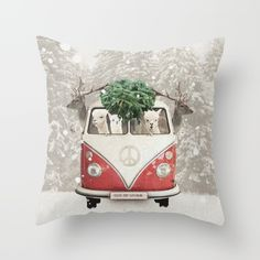 So cute .....love this pillow ! NEVER STOP EXPLORING - X-MAS Throw Pillow by Monika Strigel | Society6 $20 perfect for the holiday season! Look at the cute alpacas and the deers! Wish I could sit in the red vintage campervan in the snowing forest!