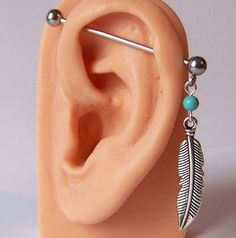 Stainless steel Industrial Bar Scaffold Turquoise Indain Stone Feather Piercing