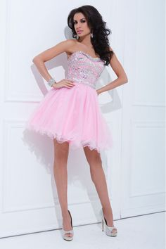 2014 Tulle Prom Dress Strapless A Line Short/Mini With Rhinestone Pink http://www.lovingdresses.com/Grade-8-Grad-Dresses/9