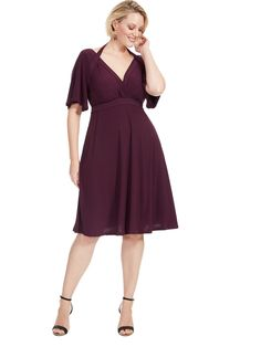 Starlet Dress In Pretty Plum by Kiyonna Picture Day Outfits, Cute Outfits, Hourglass Fashion, Swing Dress, Dress Collection, Fit And Flare, Plus Size Outfits, Dresses For Work, Glamour
