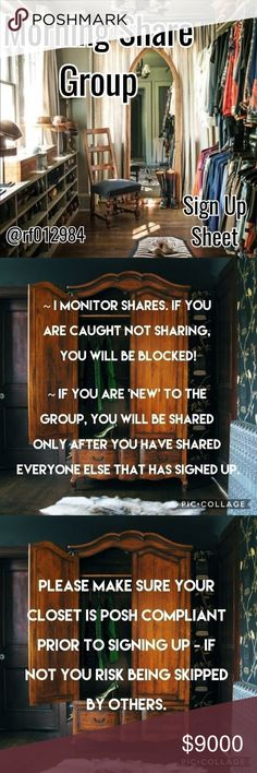 ☕1/15 Sign Up Sheet☕Morning Share Group Please use the Q&A listing for questions! Happy sharing and thanks for joining!    🌟Sign up closes 2pm (EST)   🌟May start sharing at 5am your time  🌟Share 4 available listings from each closet    🌟Sign up by tagging your own name                                       (Ex: @rf012984)   🌟Please SIGN OUT after sign up sheet is closed   🌟Please complete all shares by midnight your time!   🍃New to the group? Please type 'New' next to your name…