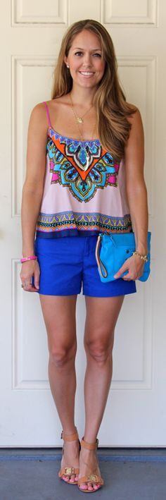 Printed top with cobalt shorts- J's Everyday Fashion - LOVE this look!!