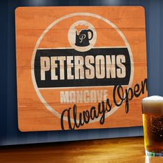 Always open is a line that would reflect the groomsmen who is constantly down to hang out. We love those guys. This rugged, yet classic, always open personalized man cave sign adds to any home or offi