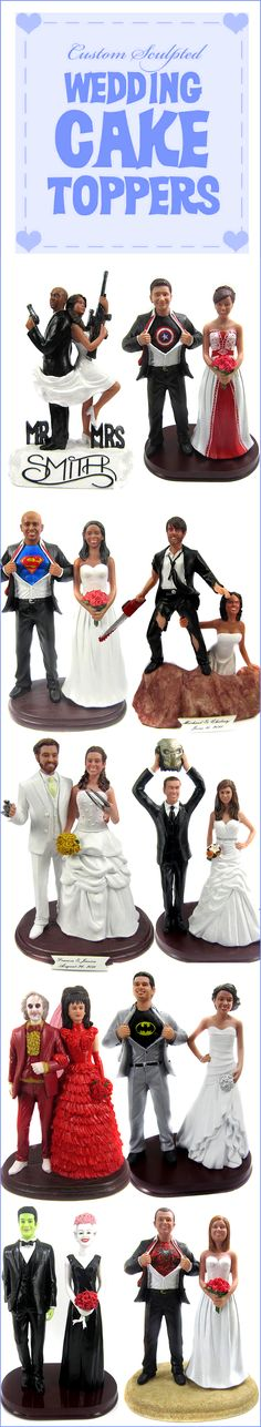 Custom wedding cake toppers are sculpted from your photos. I like this idea might have to do it :)