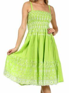 Sakkas 6502 Sequin Embroidered Smocked Bodice Knee Length Dress - White - One Size at Amazon Women's Clothing store