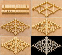 Benten mie-kikkō 弁天三重亀甲 This is another of the benten patterns. As with all the other patterns, I first cut the mitsu-kude joints, then the 90° half-lap joints. For this pattern, there are three half-lap joints between each of the mitsu-kude joints (top left photo). After all the joints have been cut, I assemble the jigumi (top right). Next, I cut and insert the short hexagon pieces (centre left). Once all the hexagon pieces have been fitted, I cut and insert the triangle pieces (centre…