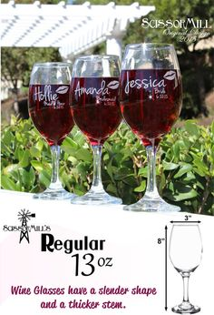 6 Bridesmaid Gifts Personalized Wine Glasses Thank by ScissorMill